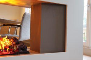 Blokvorm architectuur meubel ontwerp haard roomdivider