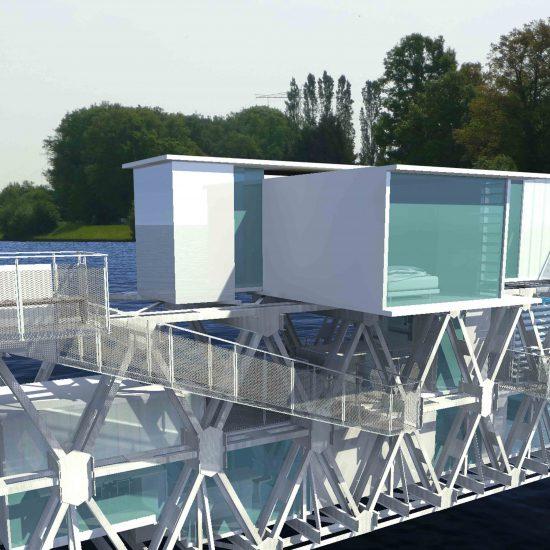 Blokvorm architectuur vrij werk brug